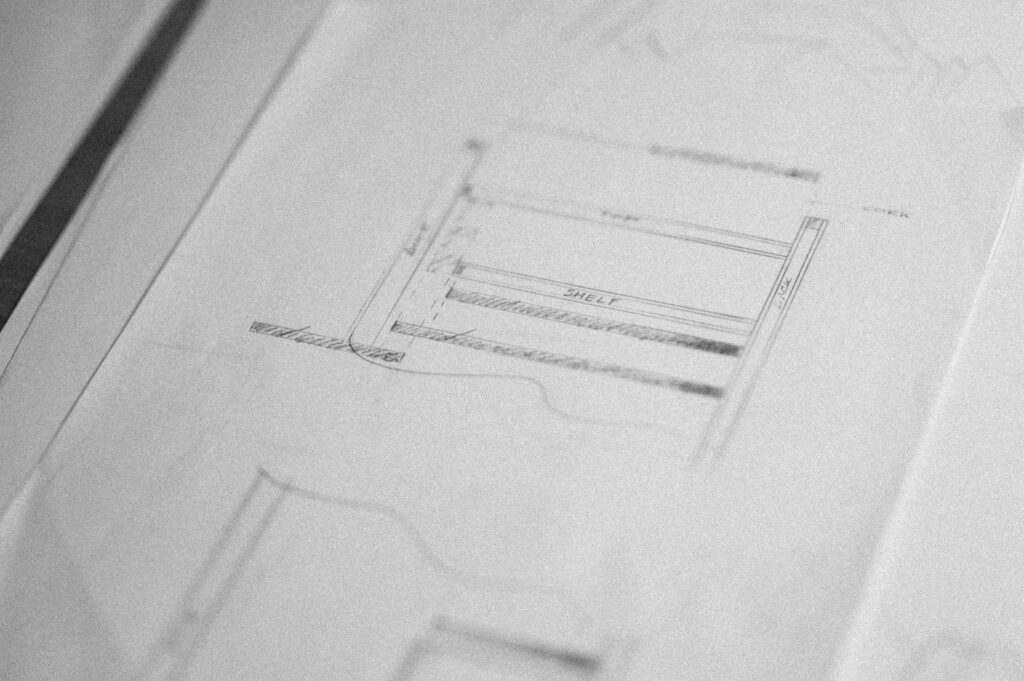 A CLOSEUP OF A TECHNICAL DRAWING FOR A PIECE OF FURNITURE, DESIGNED AS PART OF A FURNITURE DESIGN COURSE AT ROWDEN ATELIER
