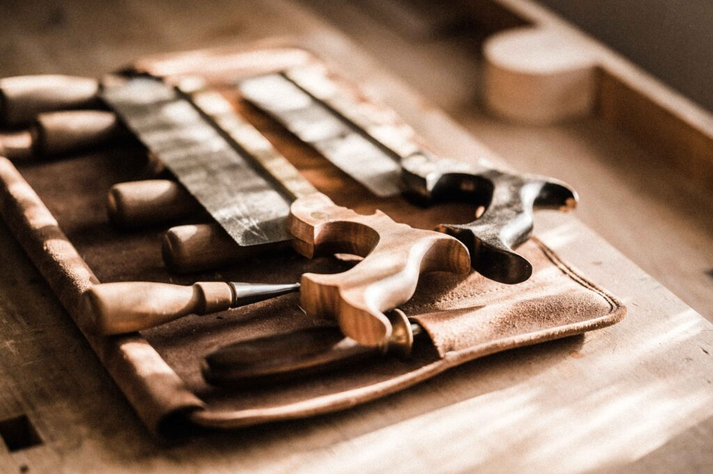 A CLOSEUP OF HAND TOOLS, USED AS PART OF THE FURNITURE MAKING COURSES AT ROWDEN ATELIER