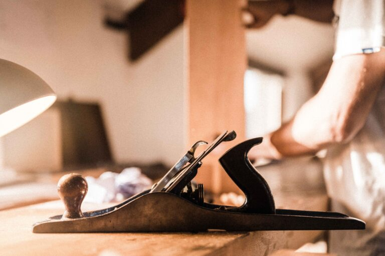 a hand plane on a workbench, being used on a furniture making course at Rowden Atelier