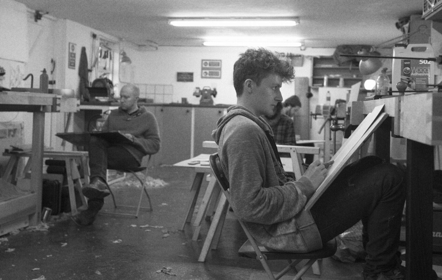 A GROUP TAKING TIME TO SKETCH ON A LEARN FURNITURE DESIGN COURSE AT ROWDEN ATELIER