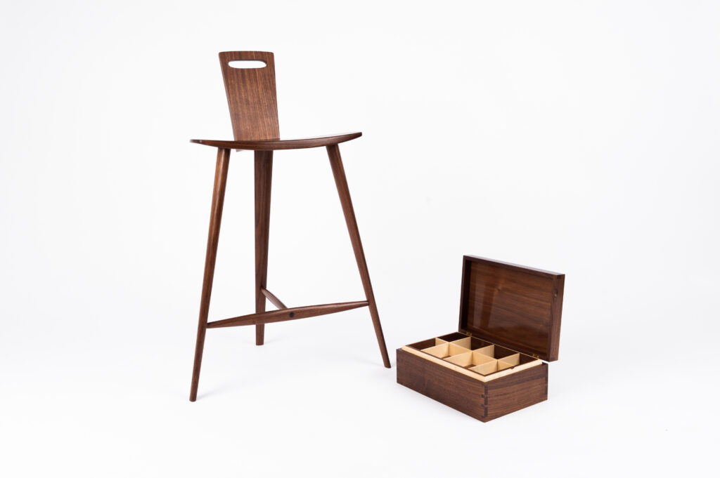 a Tage Frid stool and Rowden box from a student on the woodworking classes at Rowden Atelier