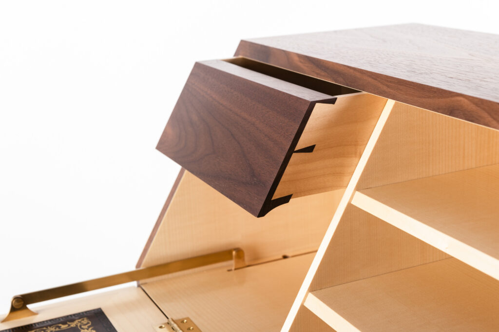 Drawer detail showing dovetails from a student made writing cabinet on a Rowden Atelier woodworking course.
