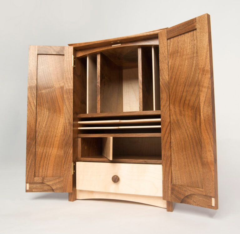 a writing cabinet made a side project by a student at Rowden Atelier on a furniture course.
