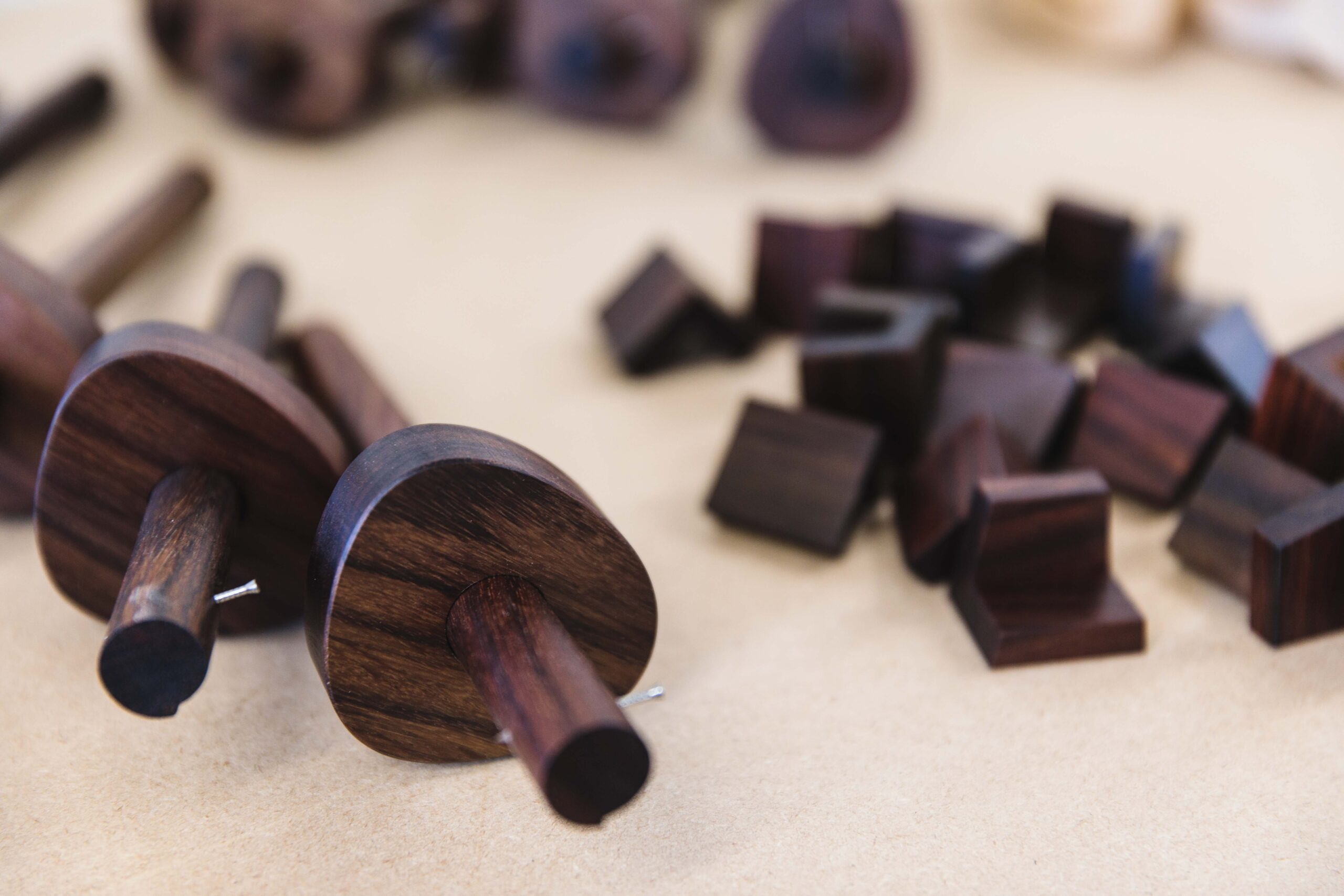 Rosewood marking gauges and rosewood dovetail markers. Hand tools made at Rowden Atelier for furniture making.