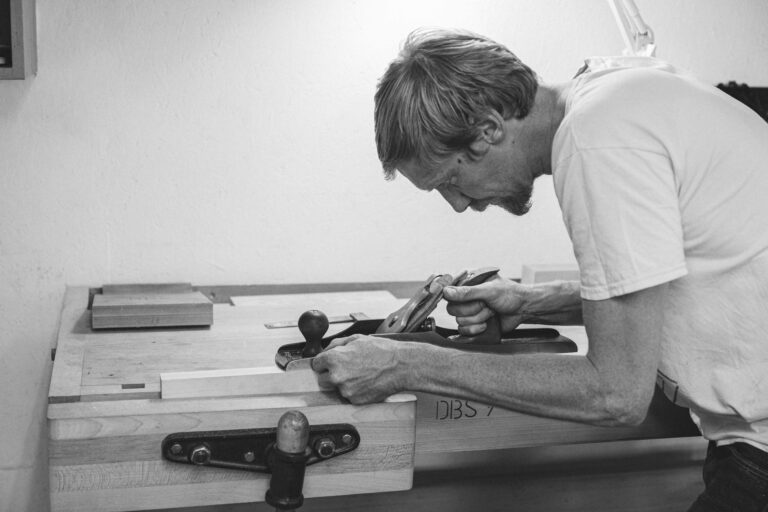 a student at Rowden starting to learn woodwork in one of our furniture making courses in the UK