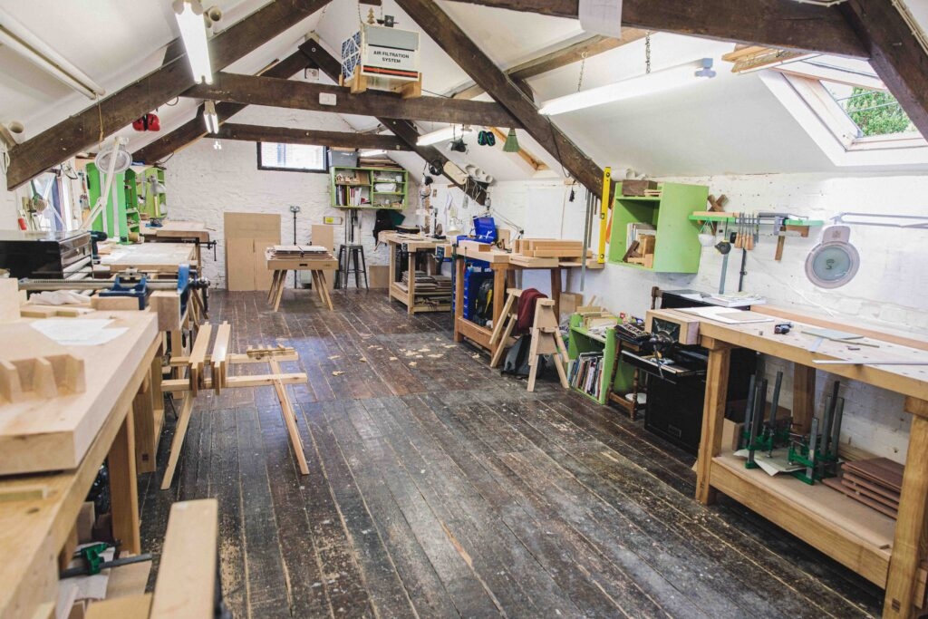 the upper bench room for woodworking courses training students in fine furniture making at Rowden Atelier