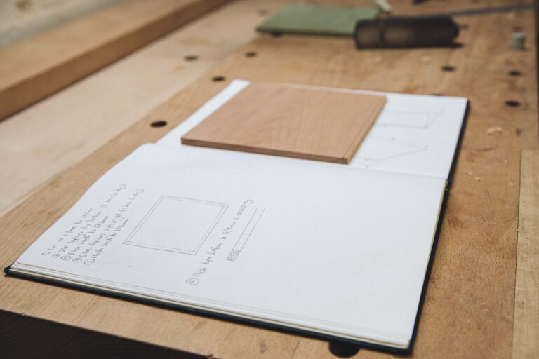student notes on a furniture building course at Rowden Atelier