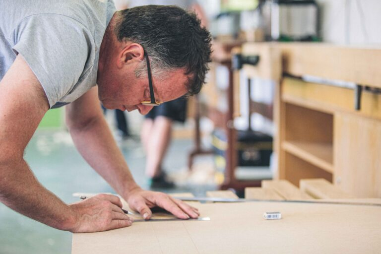a student at one of our woodworking classes at Rowden Atelier