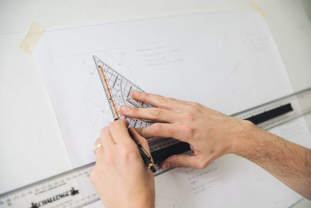 an orthographic drawing exercise in the technical drawing syllabus at Rowden Atelier