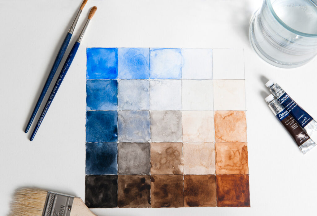 watercolours from the Rowden Atelier furniture making design UK