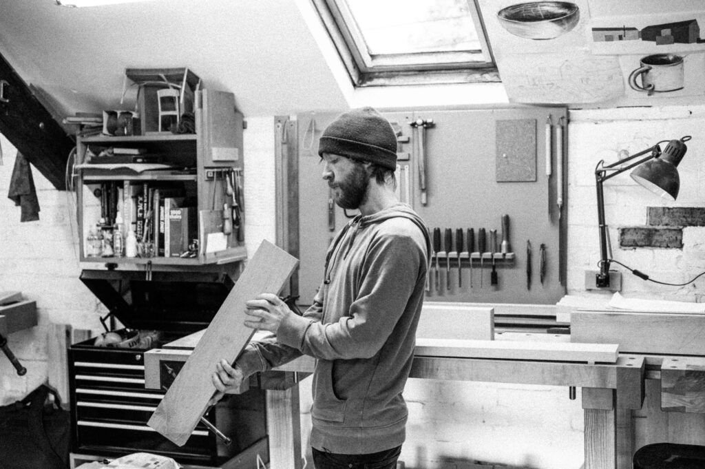 a Rowden student, focused on a furniture component as partaking in our woodworking courses at Rowden Atelier