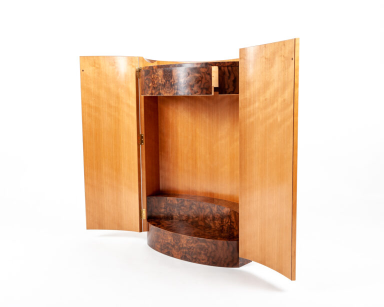 a student made veneered cabinet, made as part of a fine furniture making course at Rowden Atelier