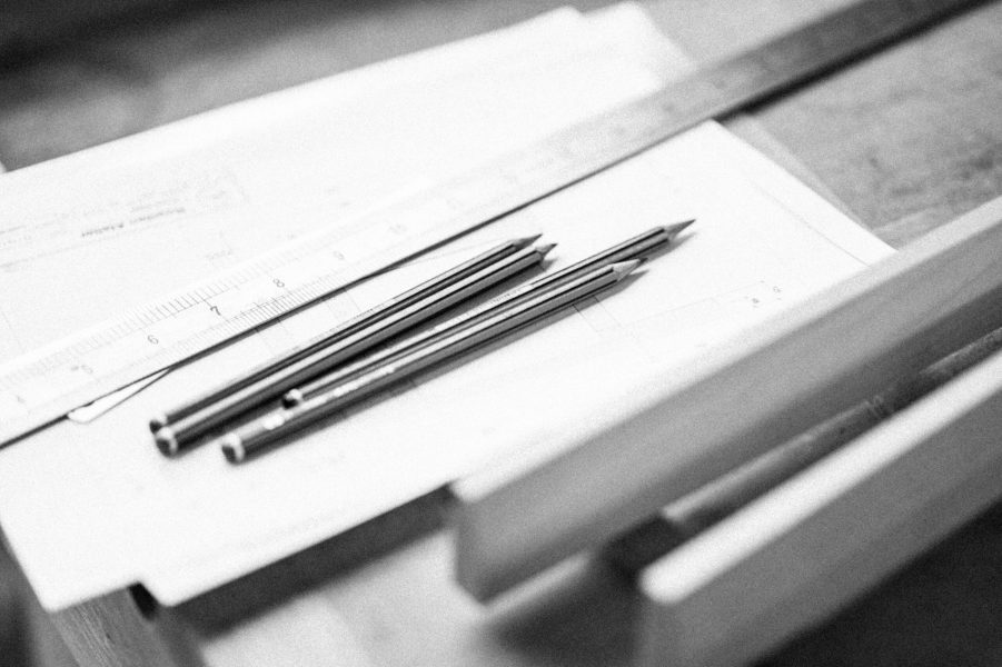pencils being used as part of the design course for furniture at Rowden Atelier