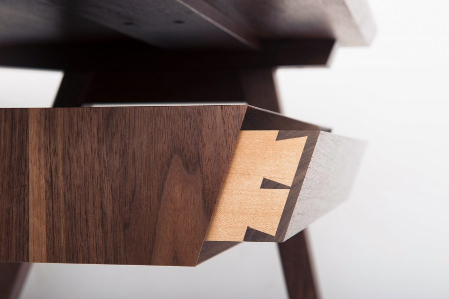 closeup of student dovetailed drawer in desk at Rowden Atelier, made on a cabinet making course